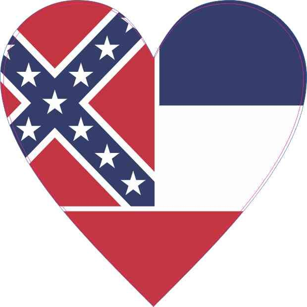 4x4 Mississippi Flag Heart Sticker Vinyl Cup Decal State Bumper Stickers