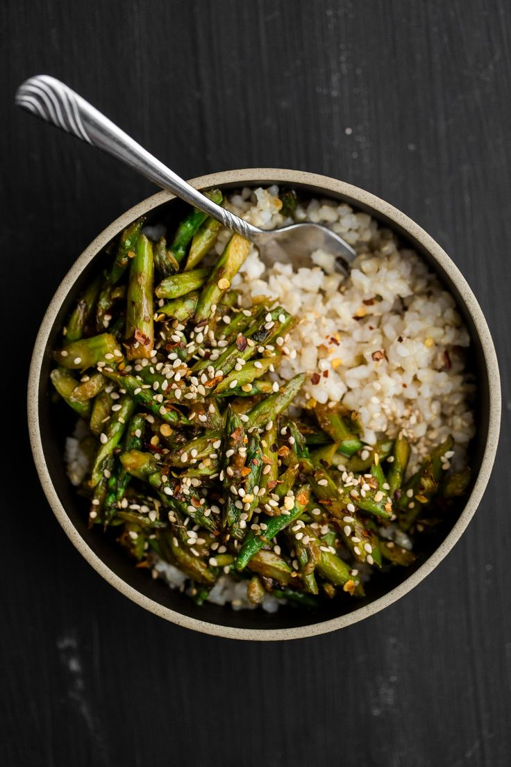A simple asparagus stir-fry paired with a flavorful sesame-miso sauce #healthy #diet #recipes