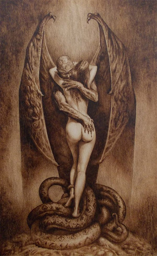 "Vampire's kiss - Wood burning (pyrography art) by ~SherPic on deviantART. -- 'pygrography copy of Boris Vallejo's fantastic work About 8""x12"".' -- Original is ""Vampire's Kiss"" (1979) by Boris Vallejo."