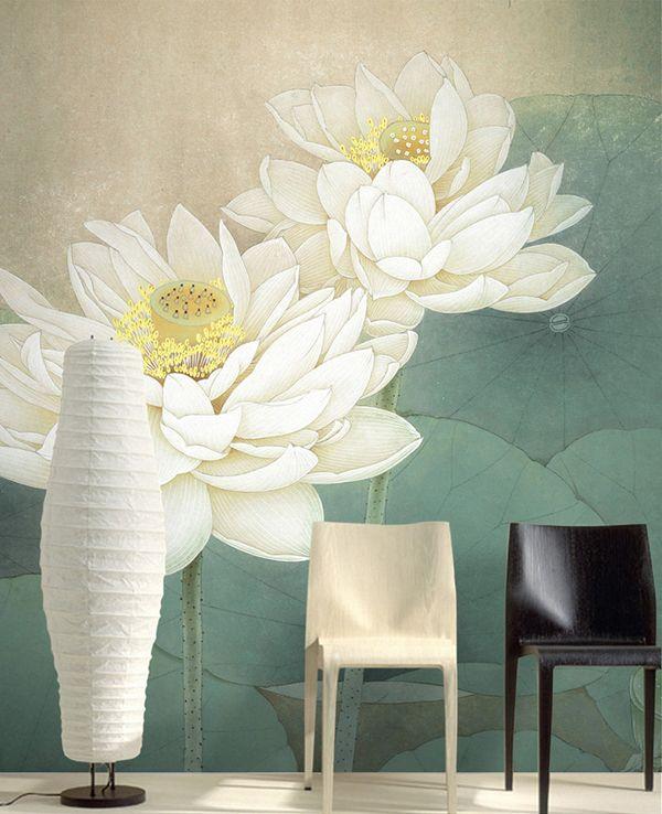 Peinture à l'encre de Chine - Les lotus blancs