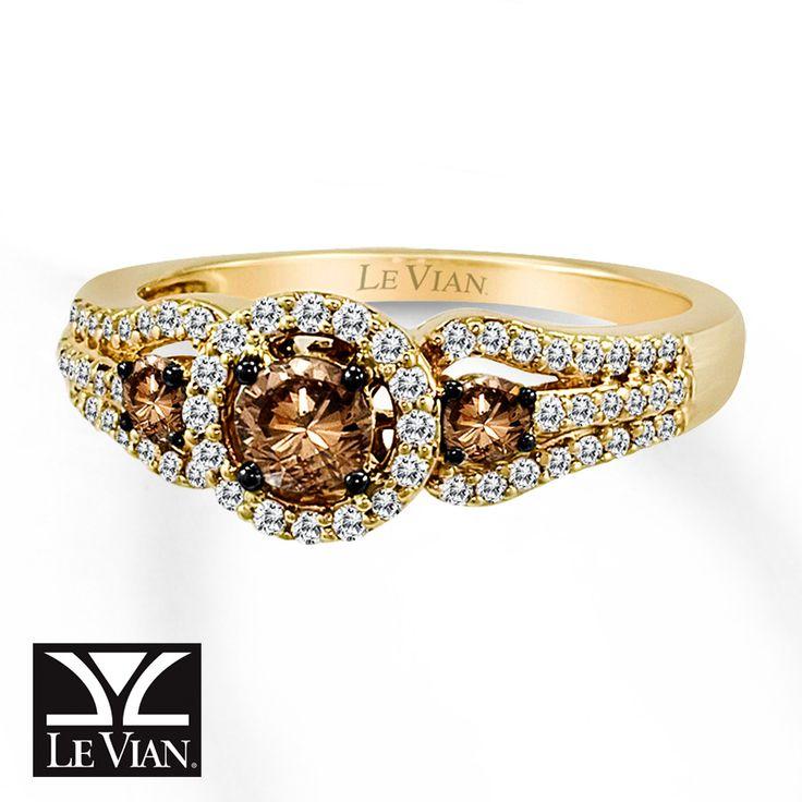 Le Vian chocolate diamond ring 3/4 ct tw round-cut 14k honey gold