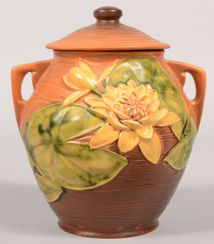 Roseville Pottery Brown Water Lily Cookie Jar.