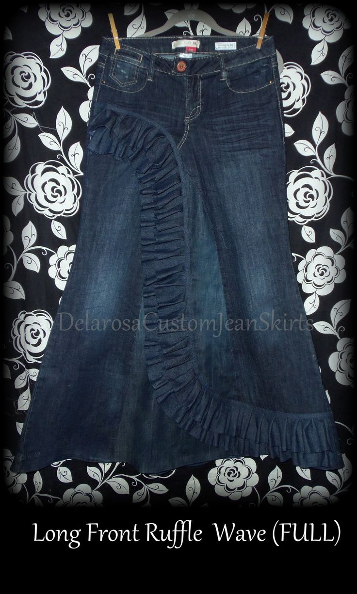 Custom Order to Your size Front Ruffle Wave Long Jean Skirt size 0-14. $68.00, via Etsy.