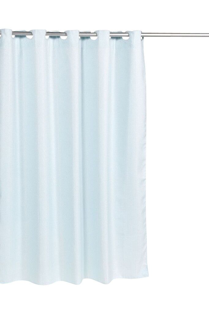 Pre Hooked™ Waffle Weave Fabric Shower Curtain, Spa Blue