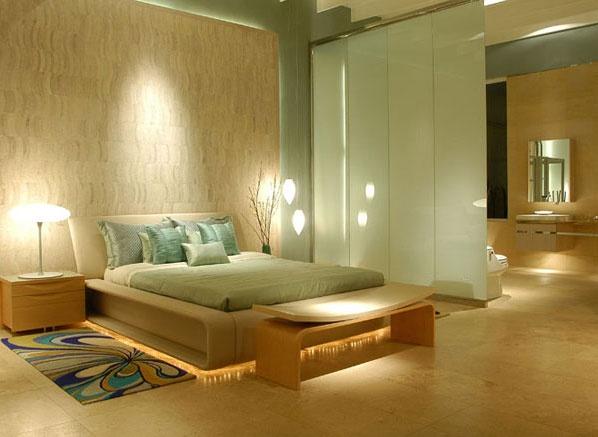 Contemporary  zen bedroom design, LOVE the lighting