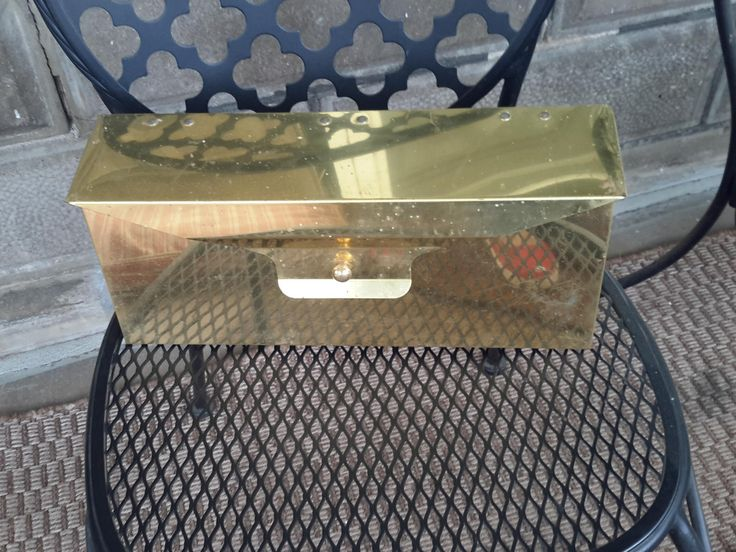 Vintage Goldtone Metal Midcentury Mailbox by CottageWelcome on Etsy