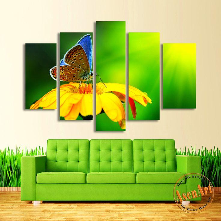5 Панели Холст Искусство Цветок Бабочки Живопись Зеленый Холст Картины HD Животных Настенные Панно для Спальни Украшения Дома Unframed(Hong Kong)