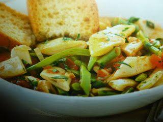 un mondo di ricette: minestre d'estate con  fagiolini  e taccole al pom...