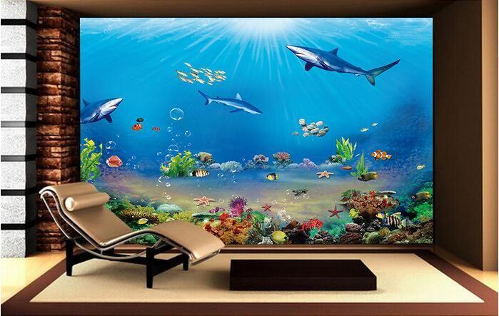 3d room wallpaper custom mural non-woven wall sticker sea world shark TV setting wall paintings  photo 3d wall murals wallpaper #Affiliate