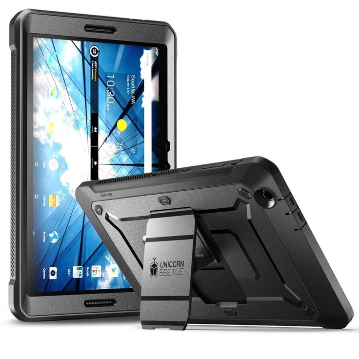 AT&T Primetime Protective Tablet Case Heavy Duty Built-in Screen Protector Black #SUPCASE