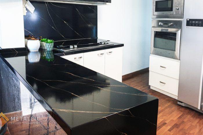 Metallic Epoxy Singapore White Highlights On Silver Base Kitchen Countertop In 2020 Countertop Design Kitchen Countertops Countertops
