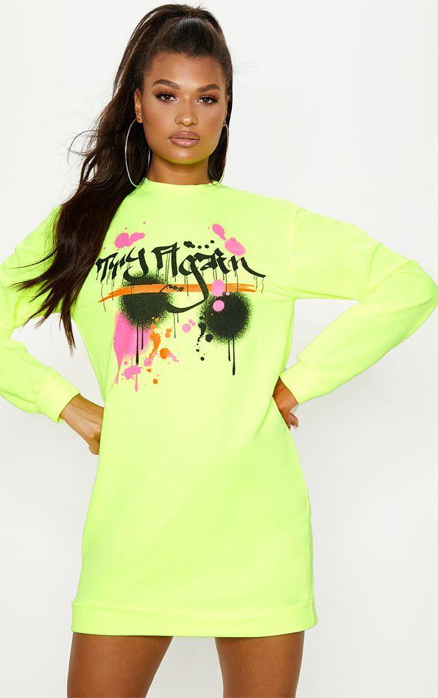 a1ac2f16ddd1d Neon Yellow Graffiti Slogan Oversized Jumper Dress | Clothes | Neon ...