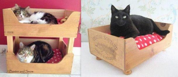 Id es pour recycler des caisses vin panier pour chat - Caisse a chat ...