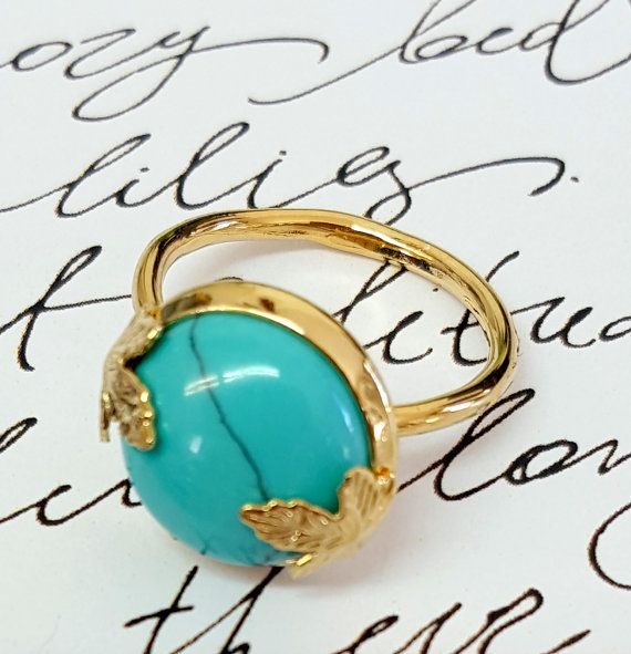 Turquoise Birthstone Ring Gemstone Ring Maple by gazellejewelry