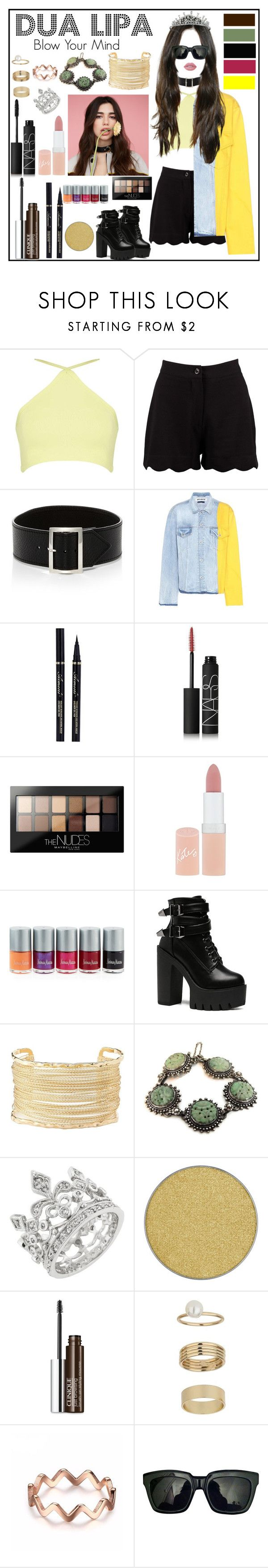 """DUA LIPA - Blow Your Mind"" by painteronion ❤ liked on Polyvore featuring Boohoo, Sophie Buhai, Off-White, NARS Cosmetics, Maybelline, Rimmel, Neiman Marcus, Charlotte Russe, Anastasia Beverly Hills and Clinique"