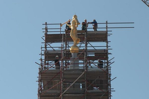 Moroni Tops LDS Rome Italy Temple.