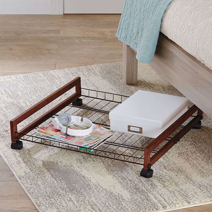 Utilize your underbed real estate with a Rolling Wire Shelf Underbed Shoe Organizer! https://www.tidyliving.com/rolling-wire-shelf-underbed-shoe-organizer.html #TidyLiving #ShoeStorage #Racks