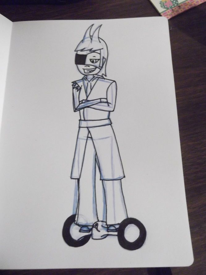 "Originally, I was just gonna have him wear high-tech Converse-based heelies, but then I saw the device seen in this image and I thought, ""Yeah, he'd totally use one."" Tord's Racing Hoverboard ~ Lazybones"