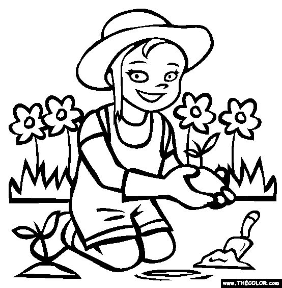 free coloring pages horticulture | Gardening Coloring Page | Free Gardening Online Coloring ...
