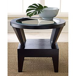 @Overstock.com.com - Abbyson Living Morgan Round Glass Espresso End Table - Accentuate your living space with this round espresso-finished end table. Made from solid hardwood for added durability, the modern end table features a stylish glass top and angled legs that complement rooms with contemporary decor.  http://www.overstock.com/Home-Garden/Abbyson-Living-Morgan-Round-Glass-Espresso-End-Table/6572397/product.html?CID=214117 $331.99