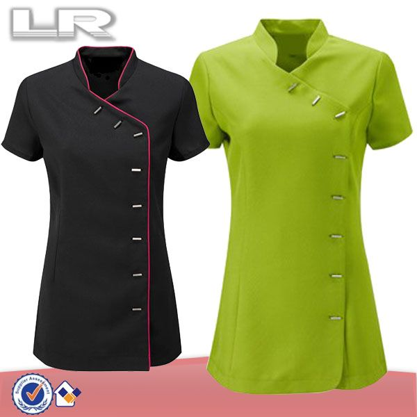 Custom Wholesale 100% Polyester Wrap Mandarin Collar Hotel Housekeeping Tunic Uniform Tops Staff Design $7~$13