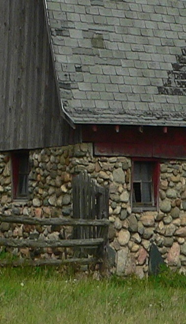 Corner Of Old Stone Barn & Shabby Roof ...look at those gorgeous field stones!!!!! <3