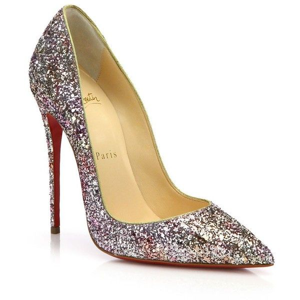 Christian Louboutin So Kate Glittered Leather Pumps ($695) ? liked on  Polyvore featuring shoes