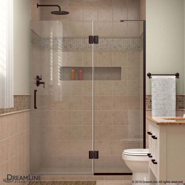 """DreamLine D32972R Unidoor-X 72"""" High x 53"""" Wide Right Hinged Frameless Shower Do Oil Rubbed Bronze Showers Shower Doors Hinged"""