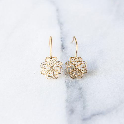 "Filirose ""Rosa Gold Earrings"" - Minimalistic, elegant fine jewelry with Portuguese filigree"