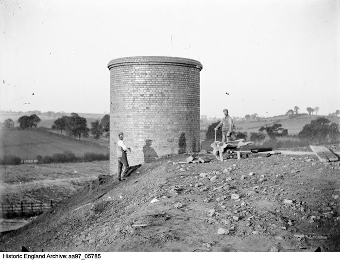 AA97/05785 Men working on a venitliation shaft for the Catesby Tunnel, Northamptonshire. Date:1900 Photographer: Alfred Newton and Sons.  Please click for more information or to search our collections.
