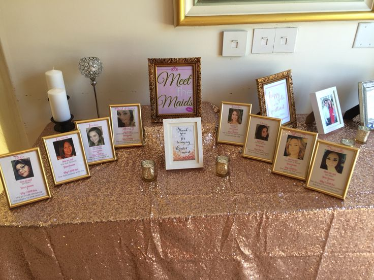 Meet the Maids. Bridal Shower. Pink and gold.