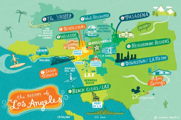 Discover Los Angeles by Linzie Hunter, via Behance
