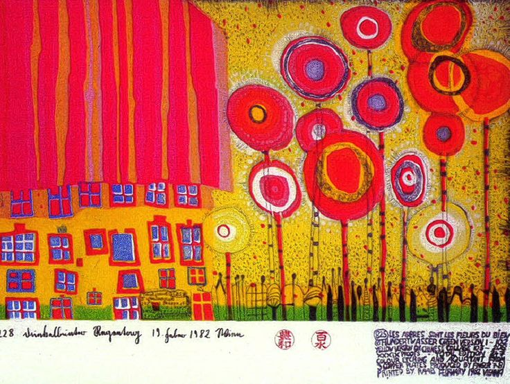 Pictures of paintings by Hundertwasser