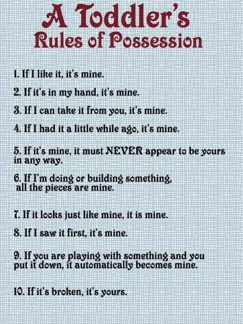 toddler rules toddler rules toddler rules: Possessive, Quotes, Kids Stuff, Sotrue, Funny Stuff, So True, Baby, The Rules, Toddlers Rules