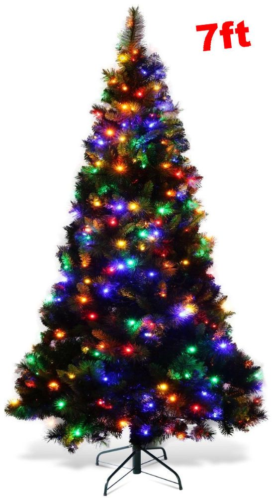 7 Foot Christmas Tree Multicolor Lights Pre Lit 7ft Artificial Large Xmas Decor Christmastree Season Winter Autumn Home