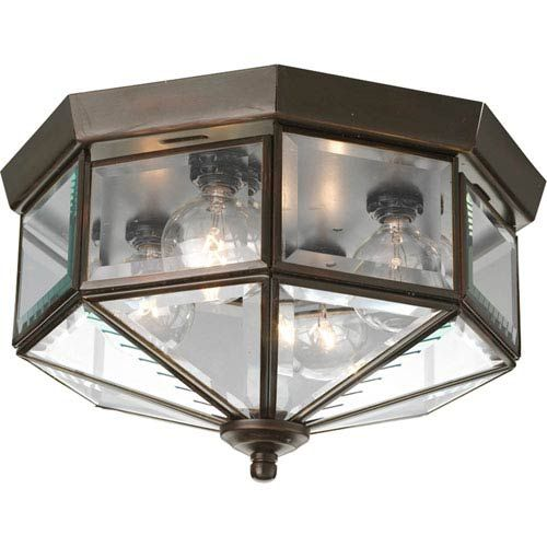 Progress Lighting Beveled Glass Antique Bronze Four Light Flush Mount With Clear Beveled Glass Panels On SALE