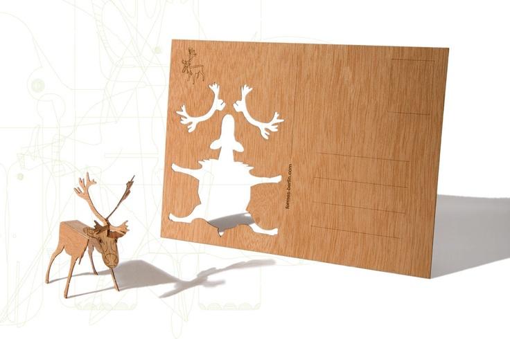 "Wooden deer kit postcard by Formes Berlin on Etsy: ""One designcard with deer…"