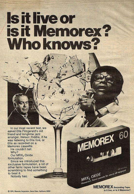 Vintage Ad -  Is it live or is it Memorex?April 25...Happy Birthday, Ella! ...the 'Queen of Jazz'.
