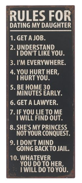 Top ten rules for dating my daughter