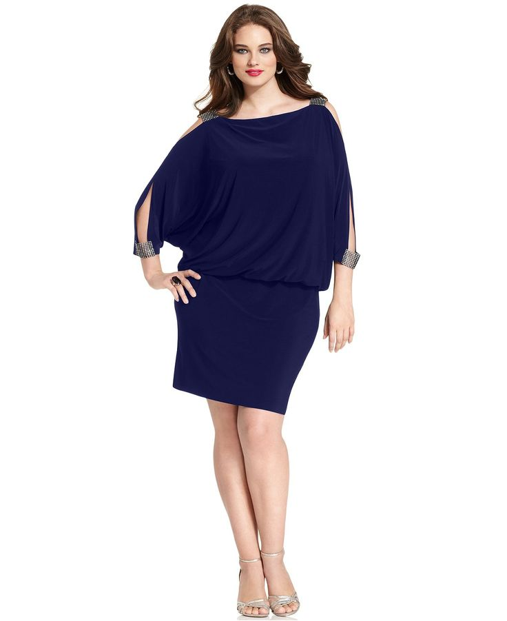 Betsy Amp Adam Plus Size Dress Three Quarter Split Sleeve