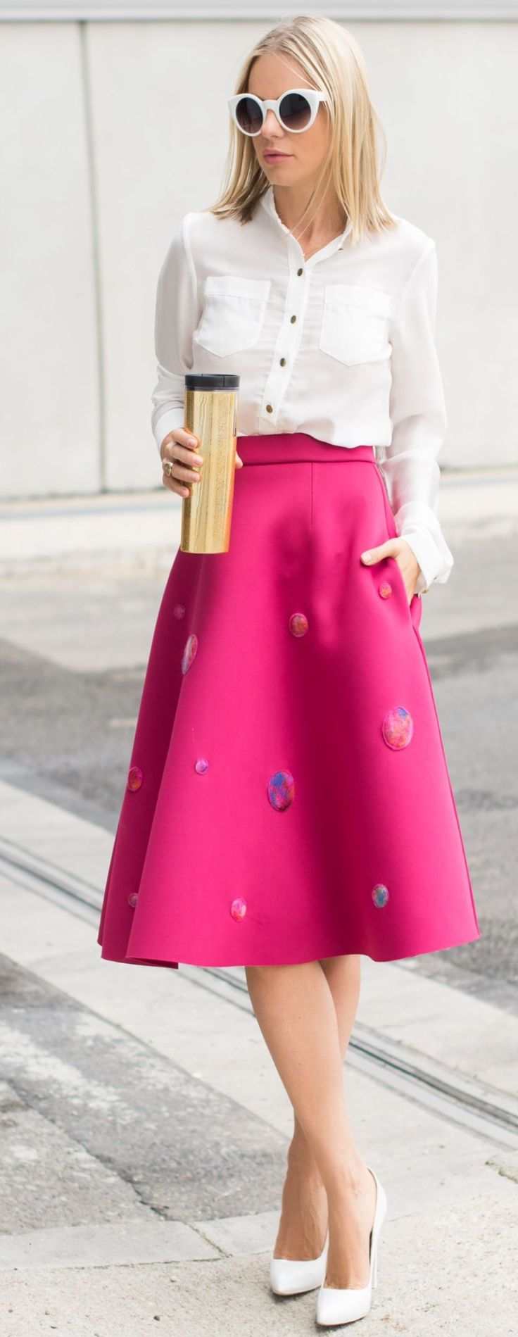 Catalina Grama Embellishes Pink A-skirt Coffee To Go Fall Inspo