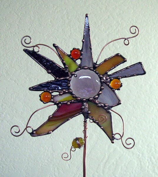 Stained Glass Garden Art Projects | Abstract Stained Glass copper Garden Art Plant Stake indoor outdoor ...