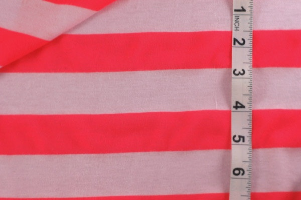 Neon Florescent Peach and White Striped Jersey Knit Fabric. $8.00, via Etsy.: Stripes Jersey, Peaches Jersey, Peaches Colors, Colors Stories, Banberri Places, Neon Peaches, Jersey Knits, Knits Fabrics, Stripes Neon