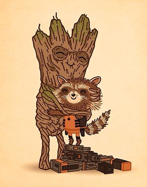 Fan Art of Rocket and Groot for fans of Guardians of the Galaxy.