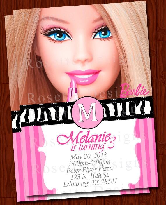 The 25 best barbie invitations ideas on pinterest barbie barbie invitation elegant new digital printable diy zebra print pink stopboris Gallery