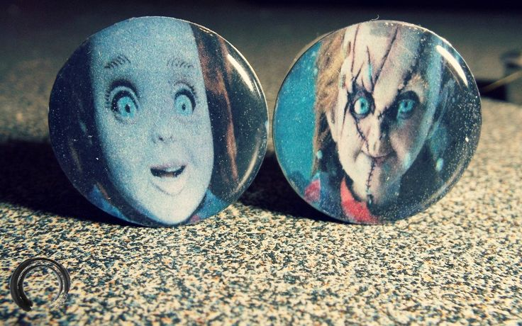 Chucky/ Good guy doll Child's play plugs horror slasher cult movie plugs (1 pair - 2 double flare plugs) by FullCirclePlugs on Etsy https://www.etsy.com/listing/203818013/chucky-good-guy-doll-childs-play-plugs