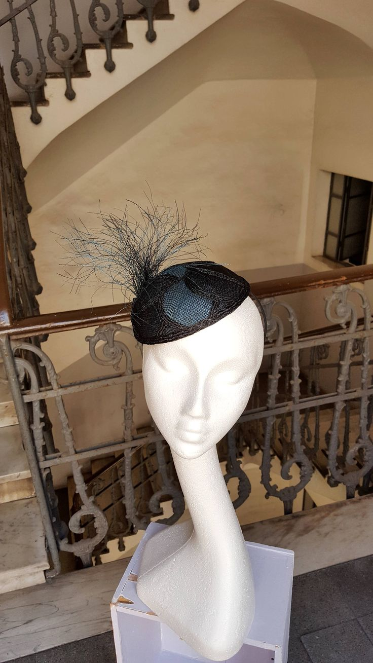 Black and Petrol Blue Fascinator Hat Cocktail Hat Mother of the Bride Church Hat Wedding Guest Hat Tocado Millinery Headpiece - JCN by JCNfascinators on Etsy