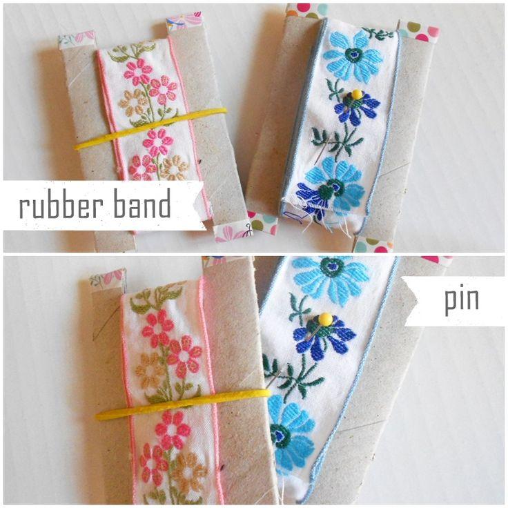Handmade Cou[l]ture: Come fare un porta nastro con un rotolo di carta igienica | How to make a ribbon holder by a paper roll