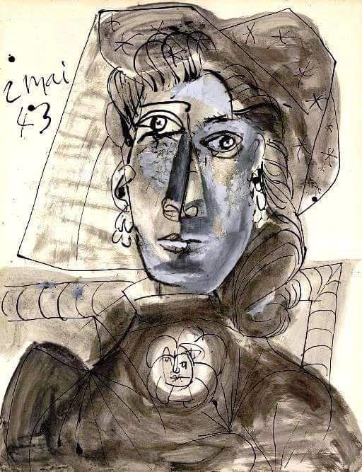 Pablo Picasso - Buste de femme au corsage orné d'une broche, 1943. Gouache, watercolor, pen and India ink on paper, 25¾ x 19 7/8 in. (65.4 x 40.4 cm).