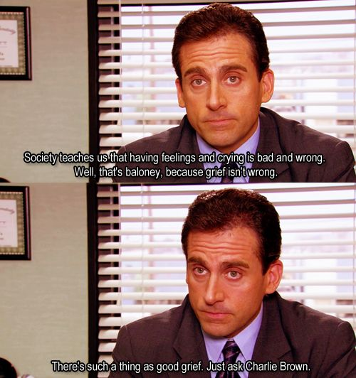 Michael Scott explains grief, The Office. This show cannot be over! I'll never laugh again!